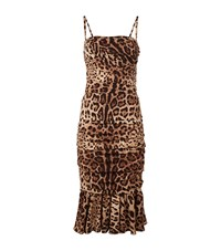 Dolce And Gabbana Leopard Print Strap Dress Female Brown