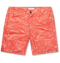 Onia Calder Long Length Printed Swim Shorts Coral