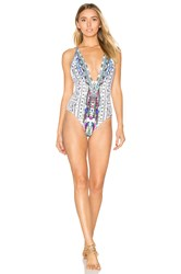 Camilla Plunge Low Back One Piece White