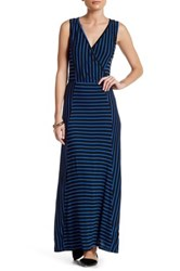 Loveappella Striped Surplice Neck Maxi Dress Petite Gray