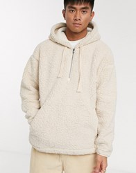 Element Big Shearling Pullover Jacket In Cream