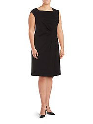 Lafayette 148 New York Gathered Square Neck Dress Black