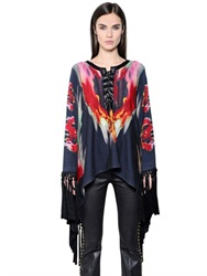 Just Cavalli Printed Wool And Cashmere Blend Poncho