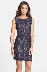Petite Women's Adrianna Papell Boatneck Lace Sheath Dress Navy Nude