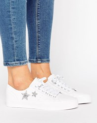 Pull And Bear Pullandbear Leather Look Star Trainer White
