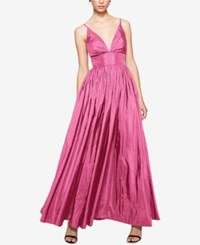 Fame And Partners V Neck Dress With Full Skirt Pink