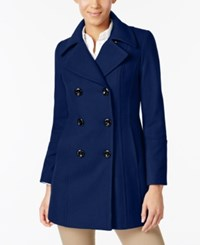 Anne Klein Double Breasted Wool Blend Peacoat Blue Print