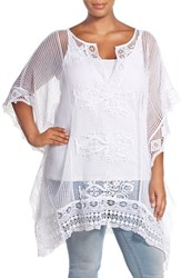 Plus Size Women's Xcvi Wearables 'Inez' Oversize Sheer Lace Poncho