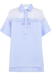 Valentino Silk Organza Paneled Cotton Poplin Shirt Sky Blue