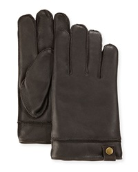 Neiman Marcus Snap Tab Leather Gloves Brown