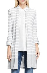 Vince Camuto Women's Two By Long Stripe Cardigan Grey Heather