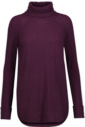 Magaschoni Cable Knit Cashmere Turtleneck Sweater Burgundy