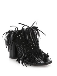 Proenza Schouler Fringed Suede And Patent Leather Mules Black