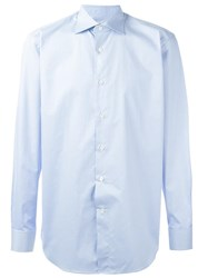 Canali Curved Hem Shirt Blue