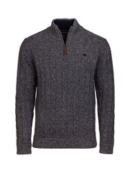 Raging Bull Men's Big And Tall Cable Knit 14 Zip Charcoal
