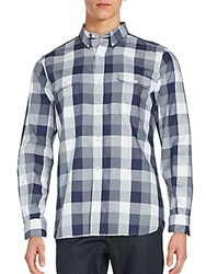 French Connection Button Down Gingham Shirt Marine Blue