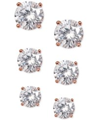 Giani Bernini 3 Pc. Set Cubic Zirconia Stud Earrings In Rose Gold Plated Sterling Silver Only At Macy's
