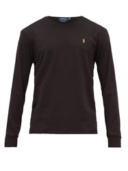 Polo Ralph Lauren Logo Embroidered Cotton Long Sleeved T Shirt Black