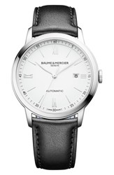 Baume And Mercier Classima Automatic Leather Strap Watch 42Mm White Black