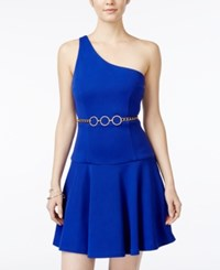 Xoxo Juniors' One Shoulder Fit And Flare Dress With Chain Belt Cobalt