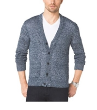 Michael Kors V Neck Marled Linen Cardigan Midnight