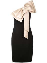 Badgley Mischka Large Bow Tie Fitted Dress Black