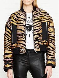 Kenzo Tiger Stripes Jacquard Bomber Jacket Gold