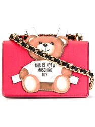 Moschino Paper Toy Bear Shoulder Bag Red