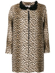 Antonio Marras Leopard Printed Coat Women Cotton Acrylic Polyamide Other Fibers 42 Brown
