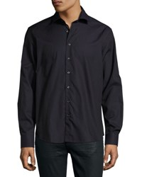 Neiman Marcus Textured Long Sleeve Sport Shirt Dark Purpl