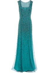 Jenny Packham Woman Assana Open Back Beaded Tulle Gown Teal