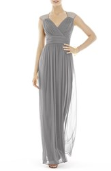 Women's Alfred Sung Shirred Chiffon Cap Sleeve Gown Quarry