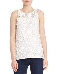 Kensie Lace Overlay Tank White
