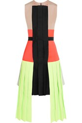 Roksanda Ilincic Neon Faille Satin And Crepe Dress Bright Orange