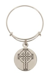Alex And Ani Sterling Silver Celtic Cross Charm Wire Ring Metallic
