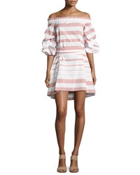 Alexis Olevetti Off The Shoulder Striped Dress Pink White Pink Pattern