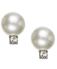 Swarovski Earrings Rhodium Plated Crystal Pearl Drop Earrings Stud Earrings