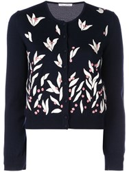 Oscar De La Renta Floral Embroidered Cardigan Blue