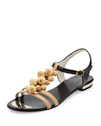 Sesto Meucci Two Tone Beaded Sandal Black Cream