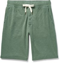Alex Mill Garment Dyed Loopback Cotton Jersey Shorts Green