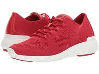 Michael Michael Kors Skyler Trainer Bright Red Soft Knit Suprema Nappa Sport Women's Shoes