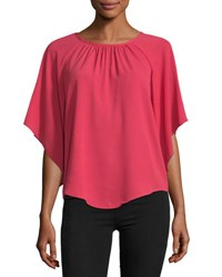 Chelsea And Theodore Angel Sleeve Crepe Blouse Red