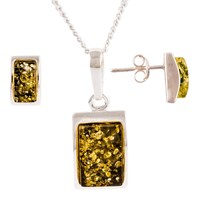 Be Jewelled Sterling Silver Oblong Green Amber Pendant Necklace And Earrings Gift Set Amber