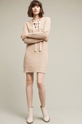Anthropologie Lace Up Sweater Dress Taupe