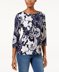 Jm Collection Floral Print Jacquard Top Only At Macy's Midnight Bloom