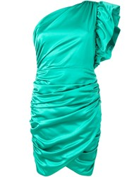 Ainea One Shoulder Ruched Dress Green