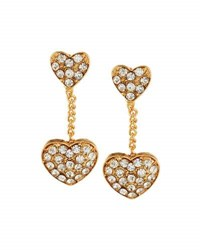 Emily And Ashley Double Crystal Heart Dangle Earrings Gold