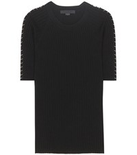 Alexander Wang Embellished Cotton T Shirt Black