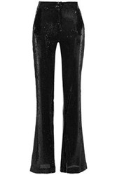 Ainea Woman Sequined Woven Flared Pants Black