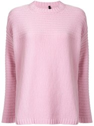 Sara Lanzi Crew Neck Knit Sweater Pink